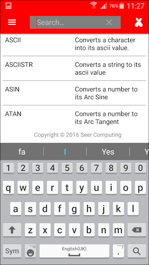 SQL Functions App for Android