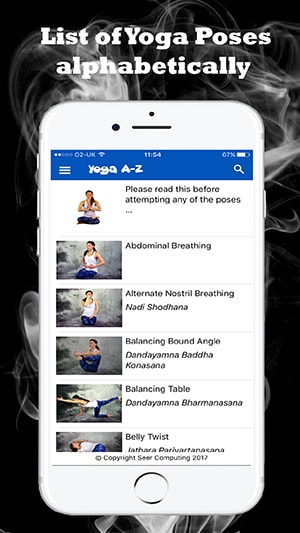 List of Yoga poses alphabetically